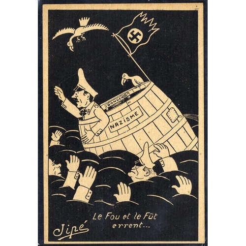 738 - WWII propaganda card depicting the demise of Nazism, unused, fine & scarce....