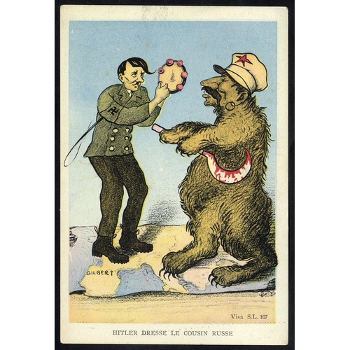 740 - WWII propaganda card in colour entitled Hitler Dresse Le Cousin Russe. Unused & rare....