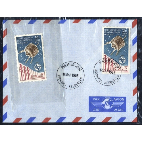 745 - FRENCH SOUTHERN & ANTARCTIC TERRITORIES 1965 Air 30f Syncom Satellite single used on an airmail env ...