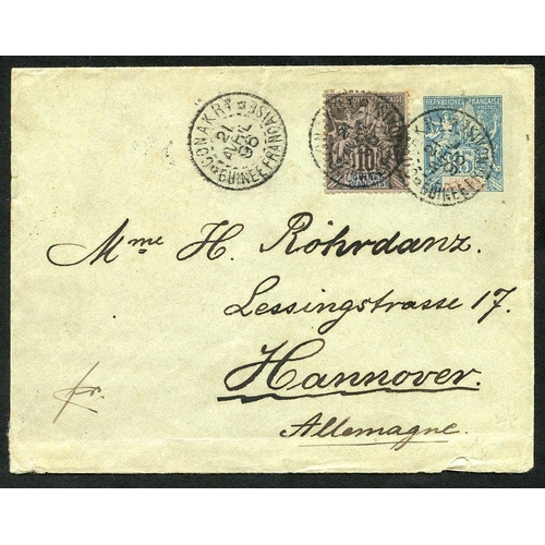 747 - GUINEE 1896 postal stationery env 15c blue upgraded with 10c black/lilac (Yv5), tied by Conakry Guin...