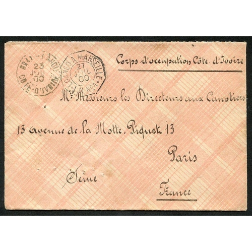 748 - IVORY COAST 1900 stampless Military mail env addressed to Paris, endorsed 'Corps D'Occupation Cote D...