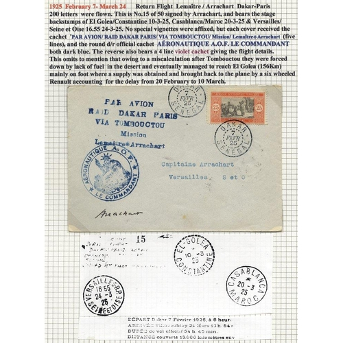 750 - SENEGAL 1925 Feb 7th LEMAITRE and ARRACHART flight cover Dakar - Paris cover with large blue cachets...