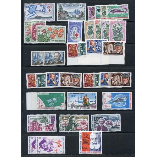 751 - ST. PIERRE ET MIQUELON 1962-76 selection on stock page of UM issues, some duplication. (37) ST.Cat. ...