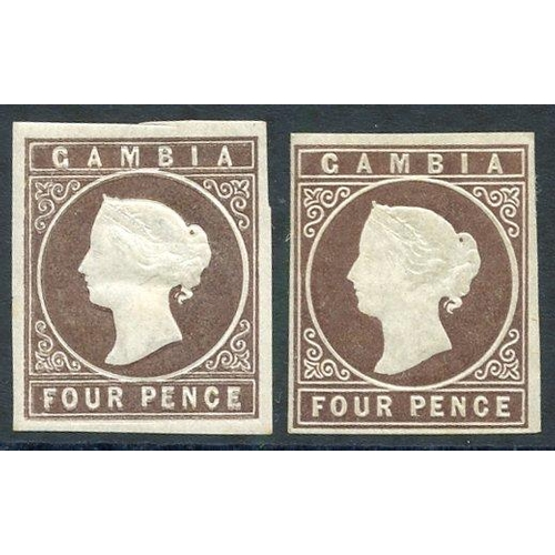 754 - 1869-72 no wmk 4d pale brown, two examples both with good embossing, one with mainly large margins &...