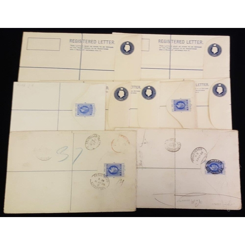 763 - 1902-Modern registered stationery envelopes comprising KEVII 2s unused, 2d U (3), added stamps have ...