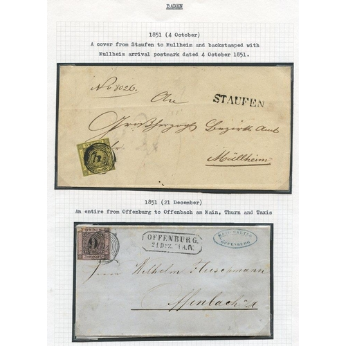 771 - BADEN 1718-1860's fine original lot neatly written up on leaves in protectors housed in three binder...