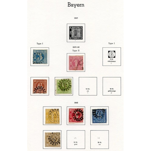 772 - BAVARIA collection on Lighthouse leaves with 1849 3k, 1850-58 1k, 6k, 9k (2), 1862-63 1k, 3k, 6k, 9k...