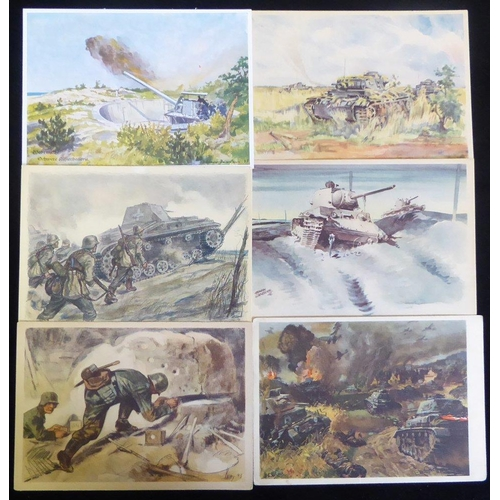 780 - Third Reich military propaganda PPC's with scenes of military activity, tanks, gun emplacements, ser...