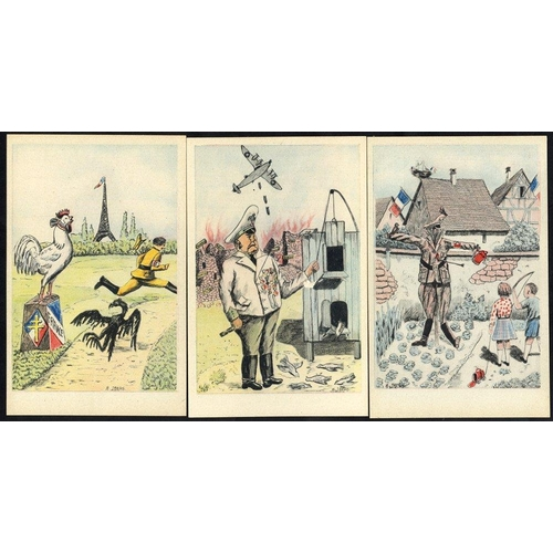 782 - WWII ANTI AXIS POLITICAL SATIRE cards (11) unused with title on reverse in French & English from a n...