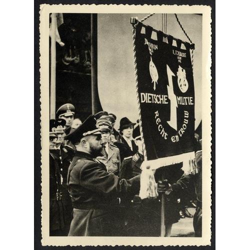 783 - WWII photographic card depicting Belgian Nazi sympathisers with banner flag. Unused & scarce....