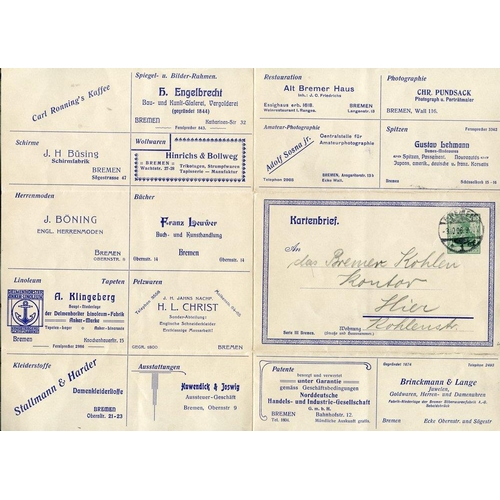 789 - 1906 advertising 5pf green Germania letter sheet showing 16 different adverts, cancelled by Bremen c...