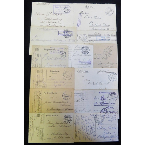 792 - WWI stampless feldpost cards & covers with a wide variety of unit cachets & cancellations. Good spec...