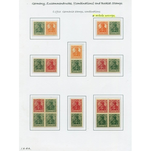 793 - 1916-17 Germania combinations with vertical pairs of 5pf + 10pf with Mi.541AB (2) M, Mi.52=42aa shad...