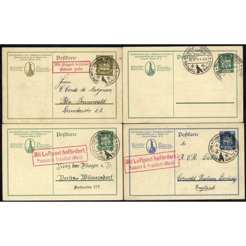 796 - 1924 Gersfeld Glider meeting official 5pfg card from the first day 30.08.24 (scarce), another card d...