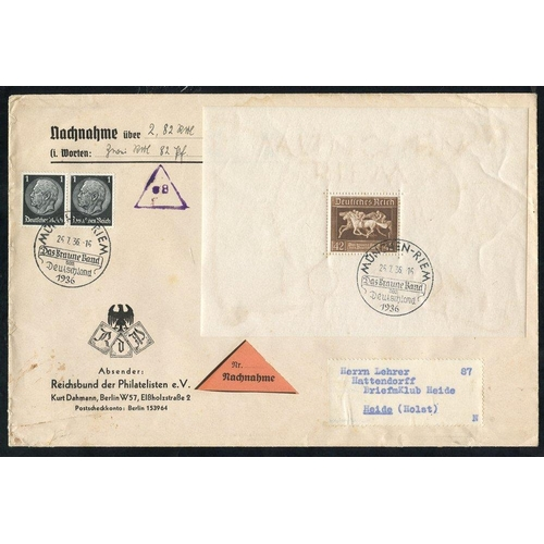 805 - 1936 Brown Ribbon of Germany M/Sheet M, another U on cover, two further examples U with different sp...