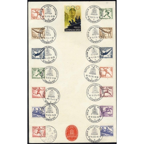 806 - 1936 Olympics P.O Counter coloured card advertising the games, reverse bears Olympic set of stamps (...