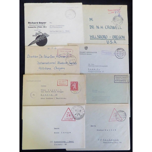 810 - 1940's cash paid covers with different 'gebuhr bezahlt' marks incl. uncommon parcel card, one with B...
