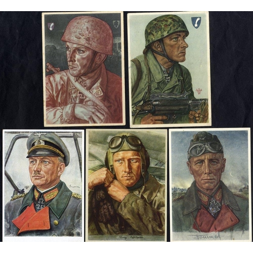 811 - 1940's WWII propaganda cards (11) depicting airmen or soldiers, mostly unused. Attractive & colourfu...