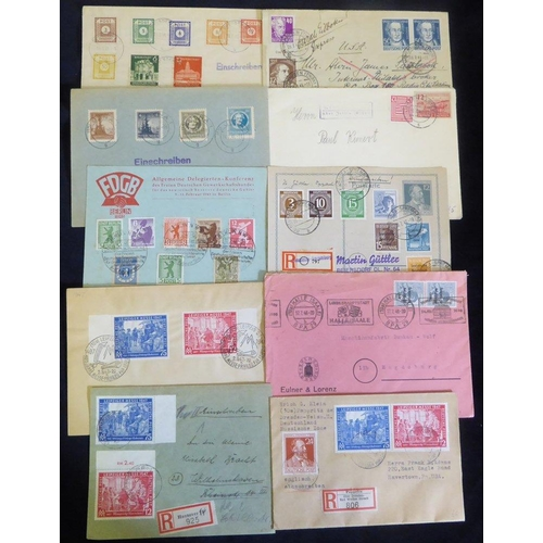 812 - Allied Occupation Soviet Zone 1940's covers & cards incl. provinces with items from Thuringia & Saxo...