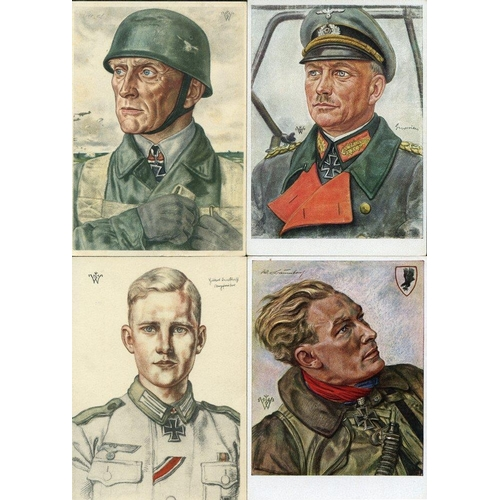 813 - c1940's collection of coloured propaganda cards (39) mainly by Wolfgang Willrich showing uniformed w...