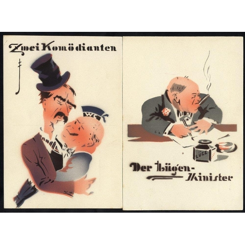 817 - WWII anti British cards depicting Chamberlain & Hitler 'The Two Comedians' and another of Churchill ...
