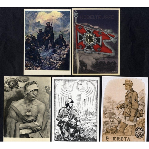 818 - WWII propaganda cards & illustrated feldpost cards - a group of 60 unused & used with a variety of i...