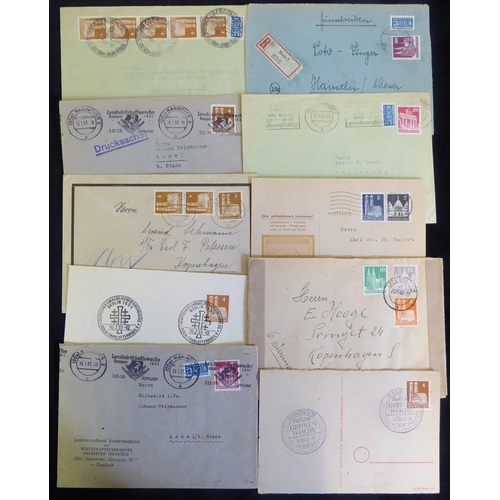 820 - Allied Occupation 1948-50 'Buildings' issue, frankings incl. commemorative cancels, registered, airm...