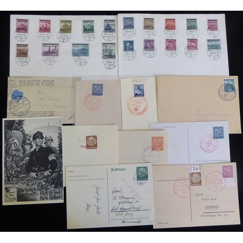 825 - BOHEMIA & MORAVIA 1938-39 group of different provisional cancellations on cards (7) & newspaper wrap...