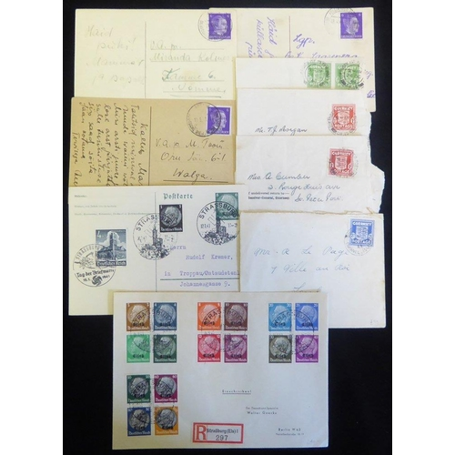 826 - GUERNSEY 'arms' frankings items incl. ½d, 2d (2) & 2½d stamps, trio of 'Ostland' PPCs & two items fr...