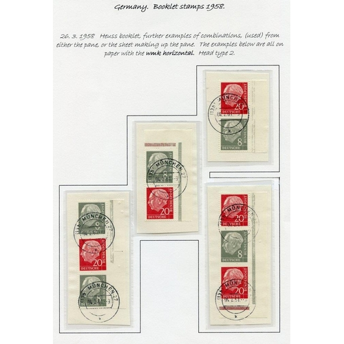 835 - 1958 President Heuss/Numeral booklet stamps - the 1dm booklet (Mi.MH4xv) complete + an exceptional r...