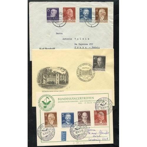 839 - 1952-53 Famous Berliners 10pf, 20pf, 40pf Mi.95, 97, 100, each on illustrated FDC's with appropriate...