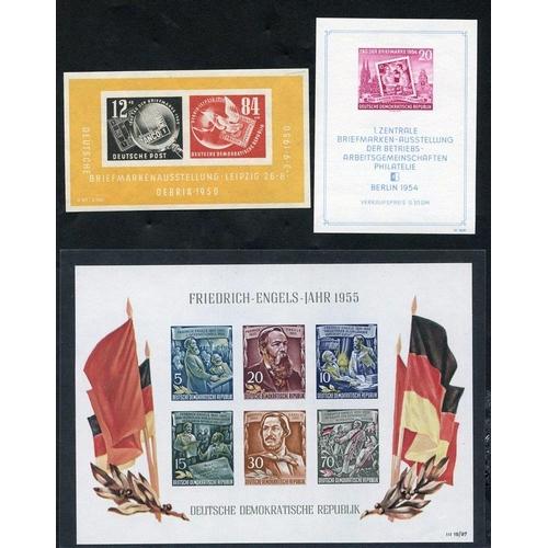 841 - 1950 Debria M/Sheet, fine M (SG.E29a), 1954 Stamp Day M/Sheet, fine M (SG.MSE200b), 1955 Engels M/Sh...