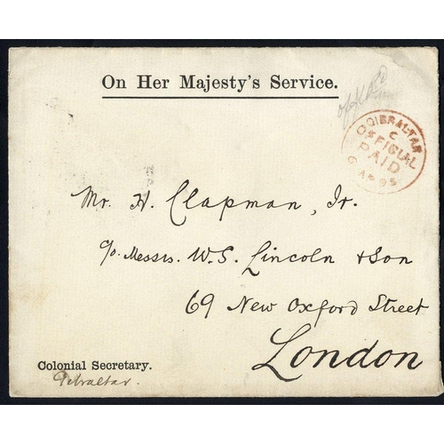 851 - 1895 printed Colonial Secretary GIB, OHMS envelope sent c/o W.S Lincoln London (early stamp dealers)...