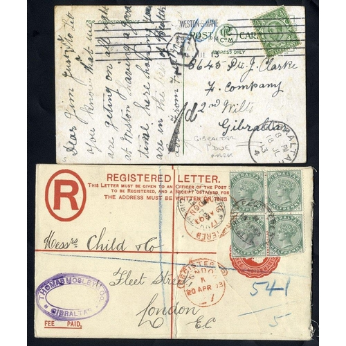 853 - 1903 QV 2d reg envelope, QV ½d block of four added (small fault on one value), tied oval reg marks o...