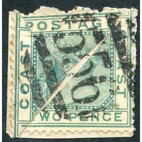 875 - 1884 2d green, two diagonally bisects on fragment, cancelled '556,' minor perf faults....