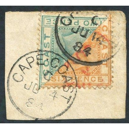 876 - 1884 6d orange bisected diagonally, with a bisected 2d on small piece to make the 4d rate, clearly t...