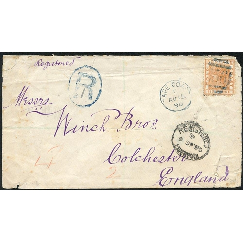877 - 1890 (15 Aug) Winch Bros' envelope (small faults) reg to Colchester, bearing 1876-84 6d orange, canc...