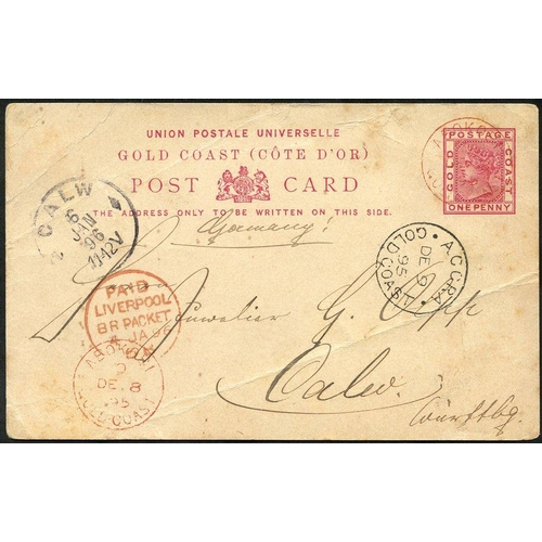 880 - 1895 (8 Dec) 1d stationery card to Germany, neatly cancelled by 'ABOKOBI/GOLD COAST' c.d.s. in red w...