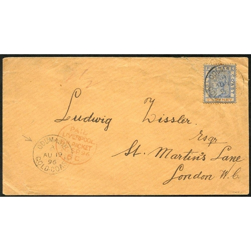 881 - 1896 (19 Aug) env to London, bearing 1891 2½d, tied by 'ODUMASIE/GOLD COAST' c.d.s. & showing anothe...