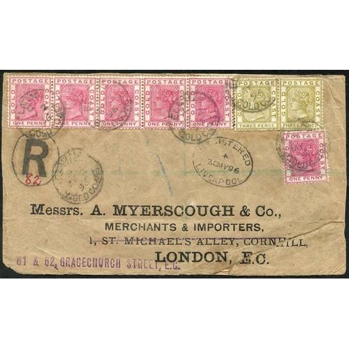882 - 1896 (2 May) 'Myerscough' quadruple rate envelope reg to London, bearing 1884-91 1d rose-carmine str...