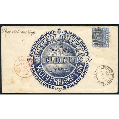 883 - 1896 (27 May) 'Rosser Jones & Co Wolverhampton' firm's advertising env used back to Wolverhampton, b...