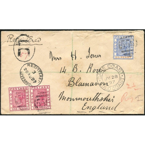 884 - 1897 (28 July) envelope reg to England, bearing 1884-91 1d pair & 2½d each cancelled '556' showing '...