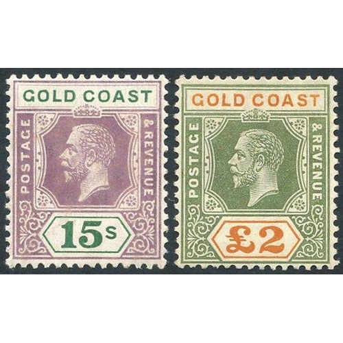 890 - 1921-24 MSCA 15s Die II & £2, fresh M, SG.100a & 102. Scarce. (2) Cat. £690...