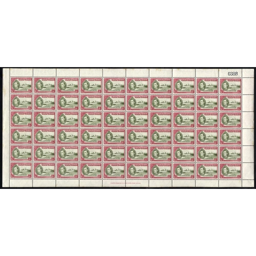 892 - 1938 KGVI Defin set in complete UM sheets of 60 (SG.120/132), the odd sheet affected by toning aroun...