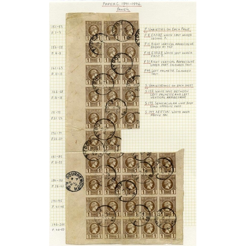 903 - 1889-1900c Small Hermes Head collection, from 1889 Athens printing, the imperforate with 1L in unuse...