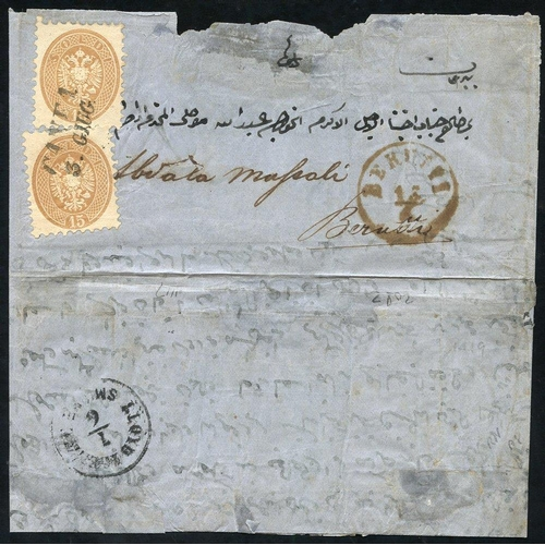 937 - CRETE (Austrian P.O) 1864 Austrian Italy Arms issue 15 soldi brown P.9½, two examples used on cover ...