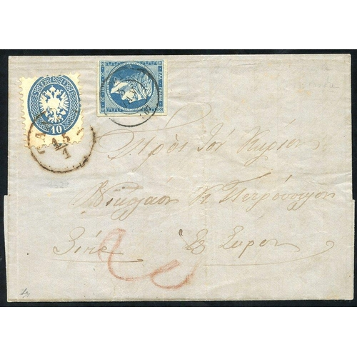 938 - CRETE (Austrian P.O) 1867 cover to Syros franked by Austrian Italy Arms issue 10s blue P.9½, tied by...