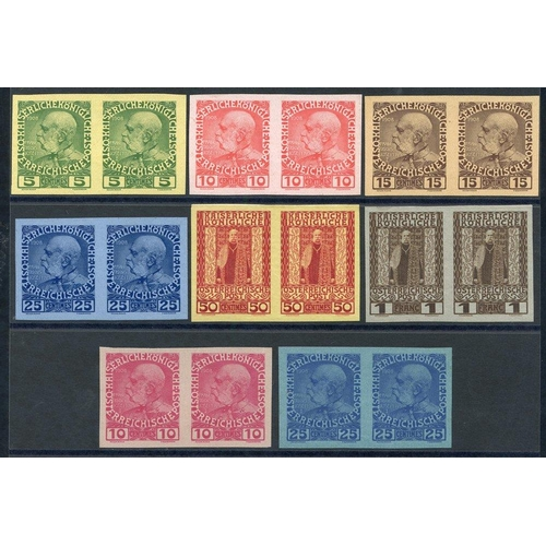 939 - CRETE (Austrian P.O) 1908 Franz Joseph set of six values, all in imperforate Plate Proof horizontal ...