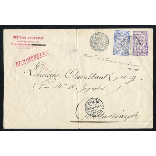 946 - Western Thrace - 1913 1pi blue + 2pi purple postal stationery envelope used from Dedeagatch to Const...