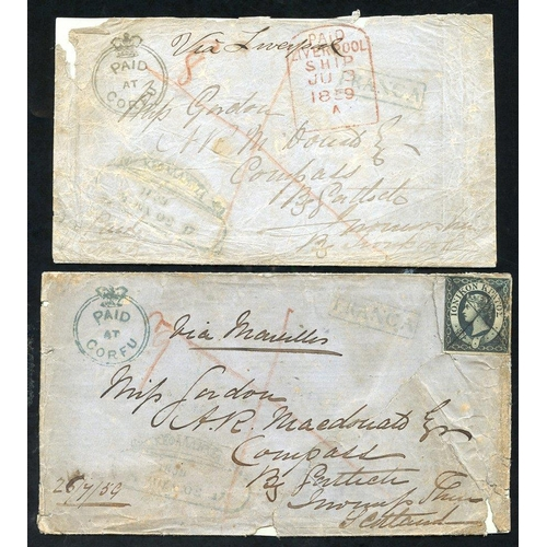950 - Ionian Islands - 1859 covers (2) both from same correspondence from Corfu to Inverness, Scotland, ea...
